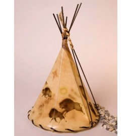 image for Buffalo Cave Art Hand Painted Leather Tepee Lamp 16x10