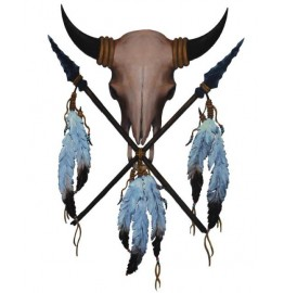 image for Buffalo Skull Shield & Spears Hand Painted Wall Art