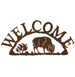image for Grazing Buffalo Southwestern Welcome Sign