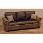 image for Burly Collection Leather Upholstered Queen Sleeper Sofa