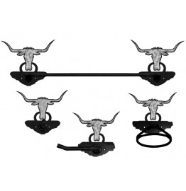 image for Longhorn Steer Western Towel Bar Set 4-piece Burnished