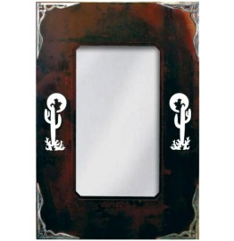image for Cactus Icon & Burnished Steel Southwest Wall Mirror 30 x 20