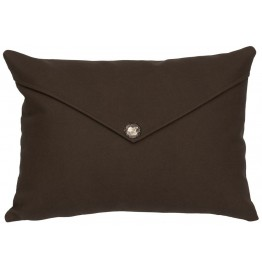 image for Saffron Brown Faux Leather Throw Pillow 14 x 20