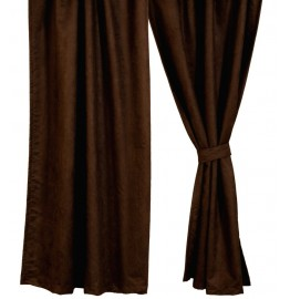 image for Chocolate Suede Drapery Set 84 Long
