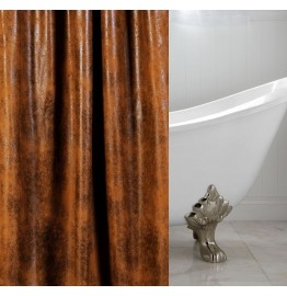 image for Cognac Faux Leather Luxury Custom Shower Curtain