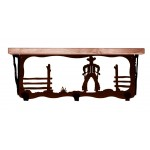 image for Cowboy Corral 20 inch Western Wall Shelf (hooks avail)