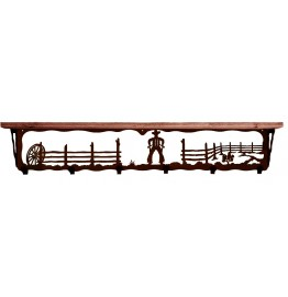 image for Cowboy Corral 42 inch Western Wall Shelf (hooks avail)
