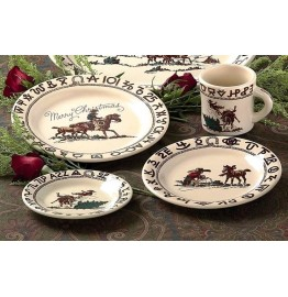 image for Cowboy Christmas Western Dinnerware 4-pc Place Setting