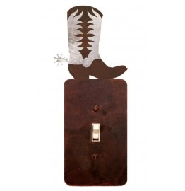 image for Cowboy Boot Burnished Steel Switch Plate Outlet Cover 3 Colors