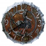 image for Bronc Rider Rustic Western Steel Wall Clock 12 inch
