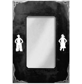 image for Cowboy & Cowgirl Burnished Corners Western Wall Mirror 30 x 20