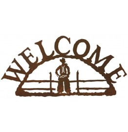 image for Cowboy Figure Rustic Western Welcome Sign