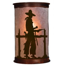 image for Pistol Drawn Cowboy Half Round Wall Sconce Small