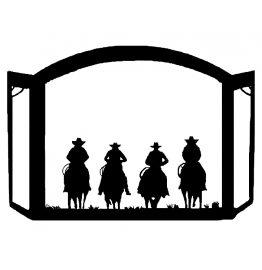image for Cowboy Riders Silhouette Western Fireplace Screen