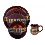 image for Cowboy Roundup Real Red Stoneware 16-Piece Dinnerware Set