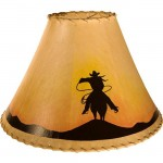 image for Cowboy Silhouette Hand Painted Leather Lampshades