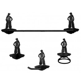Cowboy Standing Western Towel Bar Set 4-piece