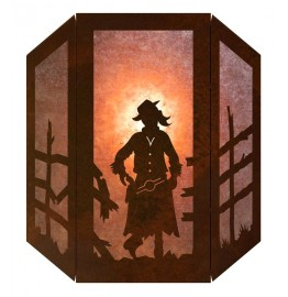 image for Cowgirl Silhouette 3 Panel Western Wall Sconce