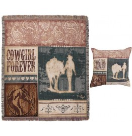 image for Cowgirl Forever Western Tapestry Throw & Pillow Set