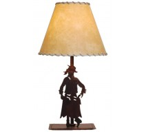 image for Cowgirl Toting Pistol Western Table Lamp & Shade 25""