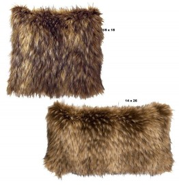 image for Coyote Faux Fur Throw Pillow Set of 2