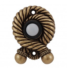 image for Twisted Rope Pewter Doorbell Button Antique Brass