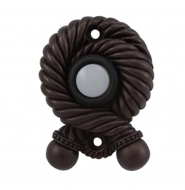image for Twisted Rope Pewter Doorbell Button Oil Rubbed Bronze