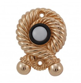 Twisted Rope Pewter Doorbell Button Polished Gold