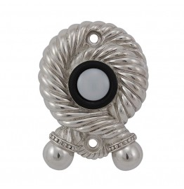 image for Twisted Rope Pewter Doorbell Button Polished Silver