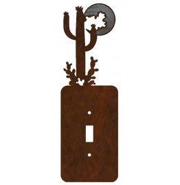 image for Desert Moon Cactus Burnished Steel Switch Plate Outlet Cover 3 Colors