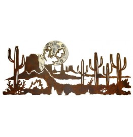 image for Desert Cactus & Moon Burnished Steel Wall Sculpture 60""