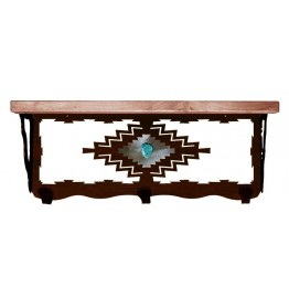 image for Desert Diamond & Turquoise 20 inch Wall Shelf (hooks avail)