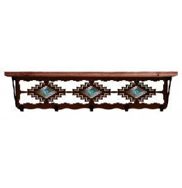 image for Desert Diamond & Turquoise 34 inch Wall Shelf (hooks avail)