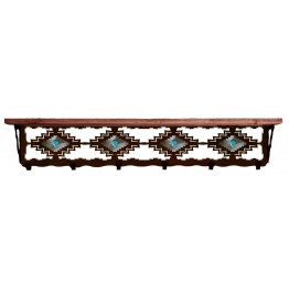 image for Desert Diamond & Turquoise 42 inch Wall Shelf (hooks avail)