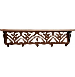 image for Desert Flower Southwest 34 inch Wall Shelf (hooks avail)