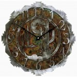 image for Desert Moon & Cactus Southwest Steel Wall Clock 12 inch