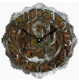 image for Desert Moon & Cactus Southwest Steel Wall Clock 18 inch