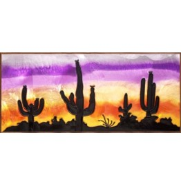 Desert Sunset Cactus Framed Art Glass Window Panel 9 x 20