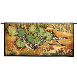 image for Desert Tracks Cactus Roadrunner Tapestry & Rod 53 x 26