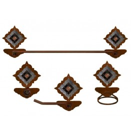 image for Diamond Copper Concho Burnished Steel 4-pc Towel Bar Set