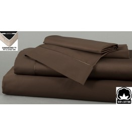 image for Dark Cocoa Dreamfit 3-Degree 100% Pima Cotton Bed Sheet Set