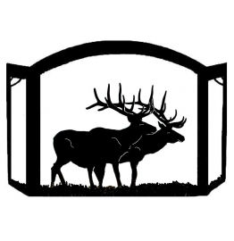 image for Elk Silhouette Rustic Fireplace Screen