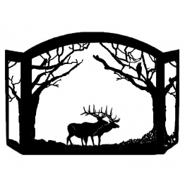 image for Elk Walking Woods Scenic Fireplace Screen*