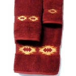 image for Gallop Southwest Medallion 3-Pc Bath Towel Set Garnet