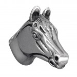 image for Horse Head Pewter Pull Knob LARGE 1-1/2 in Vintage Pewter