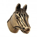 image for Horse Head Pewter Pull Knob LARGE 1-1/2 in Antique Brass