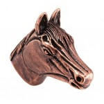 image for Horse Head Pewter Pull Knob LARGE 1-1/2 in Antique Copper