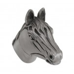 image for Horse Head Pewter Pull Knob LARGE 1-1/2 in Antique Nickel