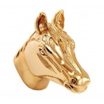 image for Horse Head Pewter Pull Knob LARGE 1-1/2 in Polished Gold