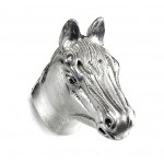 image for Horse Head Pewter Pull Knob LARGE 1-1/2 in Satin Nickel